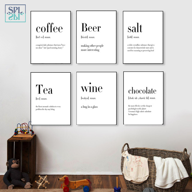 SPLSPL Black and White Food Coffee Quotes A4 Posters Nordic Kitchen Room Decoration Wall Art Canvas Painting No Frame