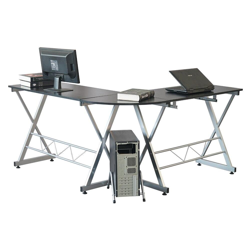 L образный деревянный компьютерный стол угловой стол ноутбук PC стол рабочая станция угловой письменный стол с полками для хранения черный С... - 6