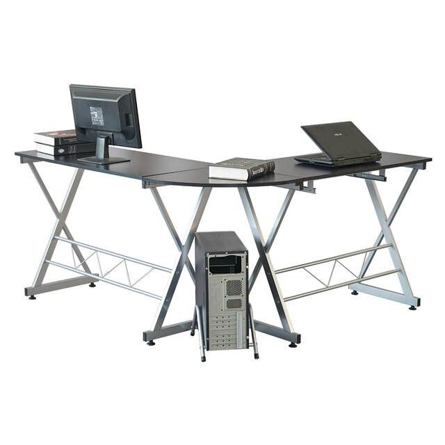 L Shaped Wood Computer Desk Corner Laptop Pc Table Workstation Writing With Storage Shelves Black Us Stock