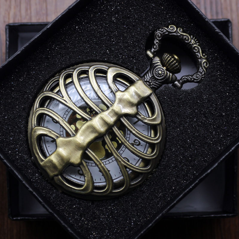 2018 New Fashion Skeleton Spine Ribs Hollow Quartz Pocket Watch Necklace Pendant Vintage Clock Chain Mens Womens Gifts