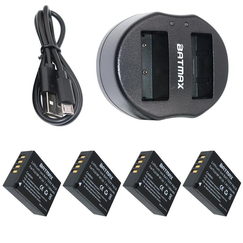 4x1260 mAh Batterie NP-W126 NP W126 NPW126 & Dual USB Caricabatterie per Fujifilm Fuji x-Pro1 XPro1 X-T1 XT1, HS30EXR HS33EXR X PRO1