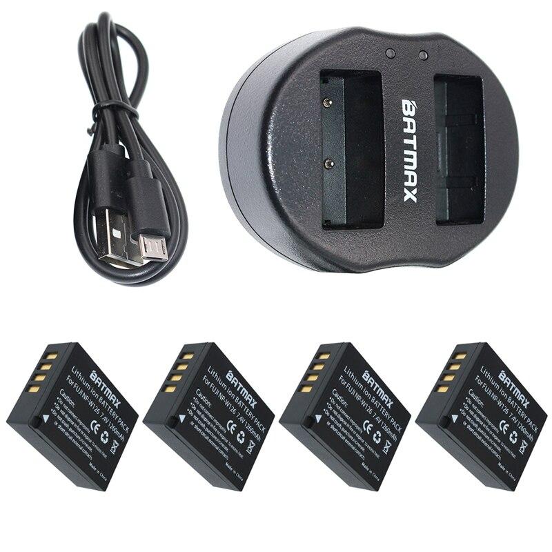 4x1260 mAh NP-W126 W126 NP NPW126 Batteries et Double USB Chargeur pour Fujifilm Fuji X-Pro1 XPro1 X-T1 XT1, HS30EXR HS33EXR X PRO1