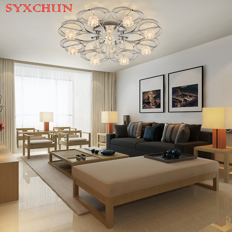 Luxury European Ceiling For Modern Home: Living Room Ceiling Remote Control Luxury Atmosphere Lamps