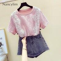 2019 Summer New Beaded Wavy Lace Shirt Women Short Sleeve T shirt Girls Students Pink T Shirt Tees Tops Nancylim