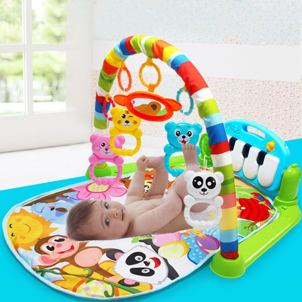 3 in 1 Baby Play Mat Rug Toys Crawling Music Play Game Developing Mat with Piano Keyboard Infant Carpet Education Rack Baby Toys