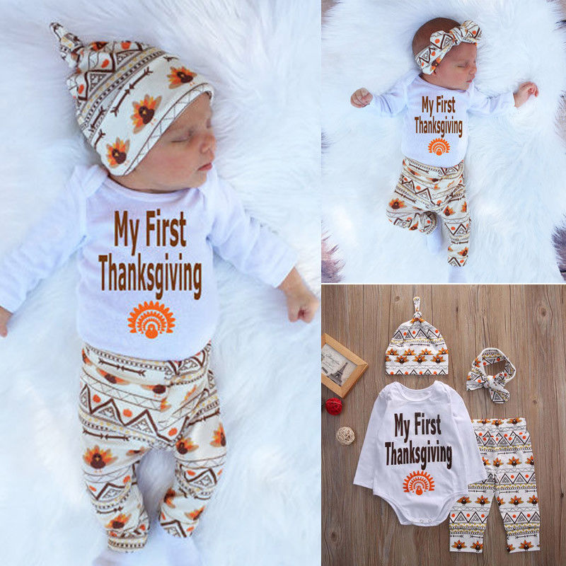 Newborn Baby Boys Girls Thanksgiving Romper Tops +Long Pants Hat Handband  4PCS Outfits Set Kids Clothing Set Winter-in Clothing Sets from Mother    Kids on ... afb52c7920cd