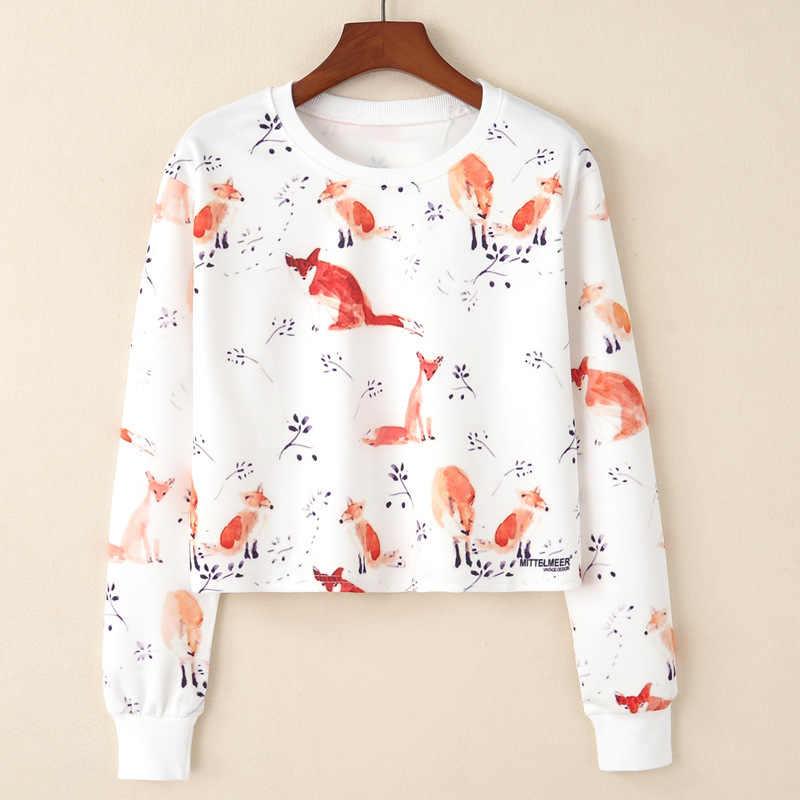 Autunm Hoodeis Bts Harajuku Women Sweatshirts Fox Print Women Fashion Hoodies Short Branch Printing Long Sleeved Female Hoodies