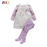 ZOFZ Spring Autumn Girls Clothing 3 Piece Set Kawaii Baby Girl Sleeve Strap Dress Dress Siamese
