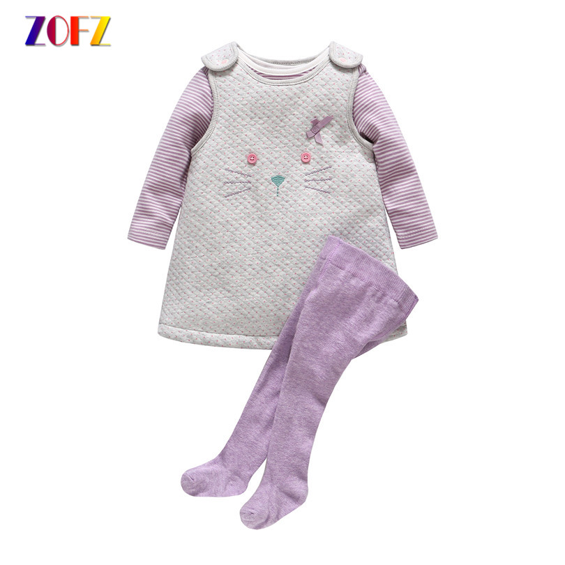 ZOFZ Spring Autumn Girls Clothing 3 piece/set Kawaii Baby Girl Sleeve Strap Dress + Dress + Siamese socks Girls Suits Fashion 2015 new fashion baby girls 2 piece body suits tutu dress pants trouser autumn set christmas halloween bodysuit girls clothing