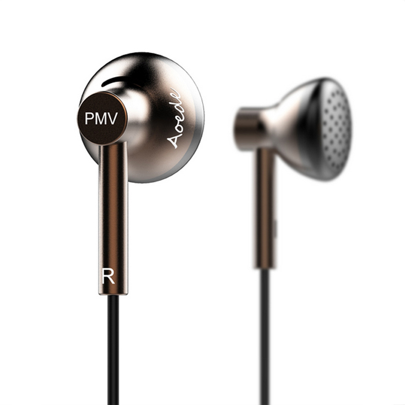 2017 Newest PMV B01 AOEDE Dynamic In Ear Earphones HIFI Earbud Flat Head Earplugs Monitor Headset Metal Earbud PK MX500 PK2 Monk