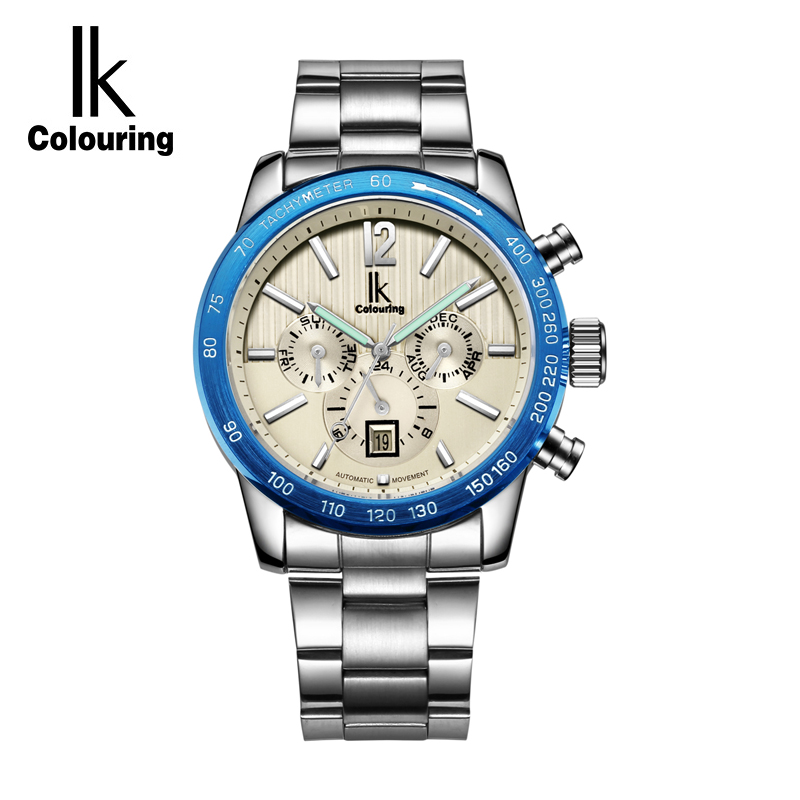 IK Brand Luxury 24 Hours Calendar Luminous Automatic Mechanical Watches Men Silver Full Steel Business Watch Timepieces relojes ik brand luxury automatic mechanical watches men sub dial function date 24 hours display genuine leather skeleton watch relojes