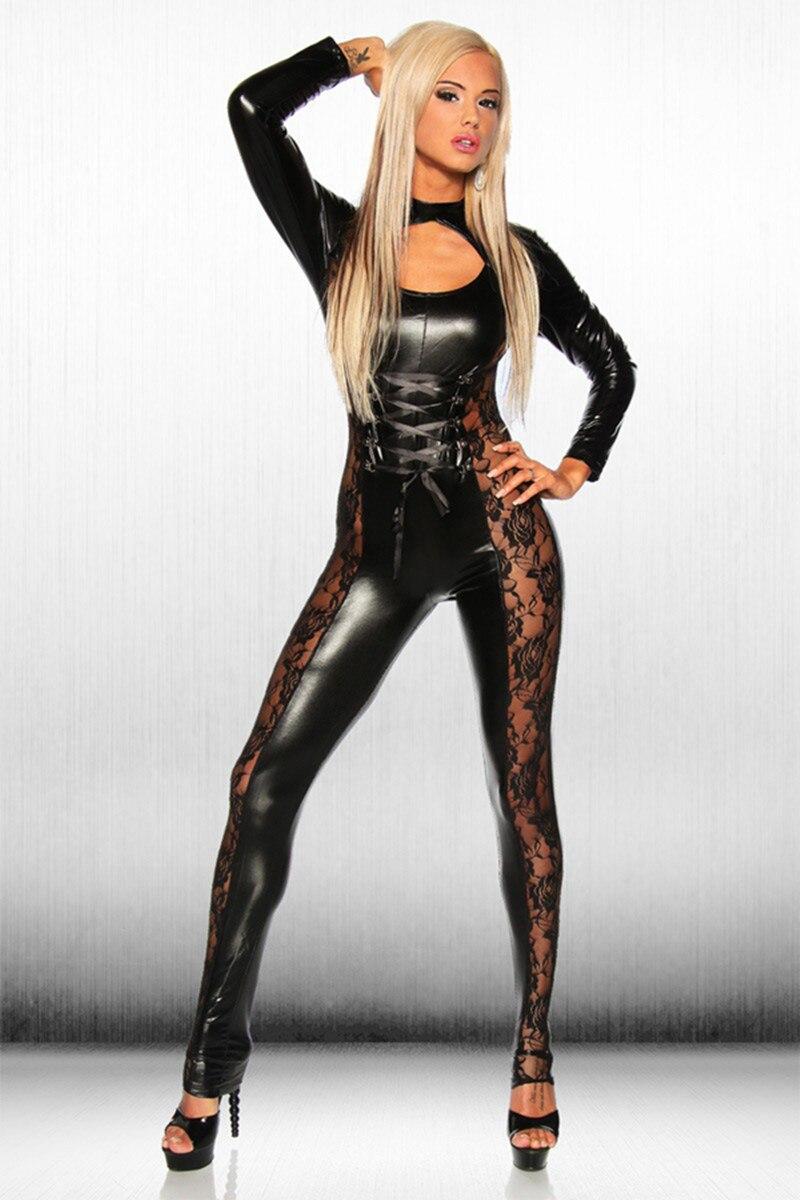 2018 Sexy Lingerie Lady Leather Costume PVC Jumpsuit Latex Catsuit Sexy Game Bodysuit Clubwear Lace Jumpsuit Crotch Zipper