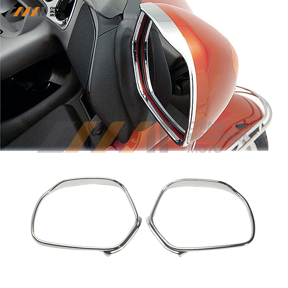 Chrome Mirrors Trim Decoration case for Honda GL1800 GOLDWING 2001-2012 chrome front fender covers for honda gl1800 goldwing gl 1800 2001 2002 2003 2004 2005 motorcycle mudguard frame decoration case
