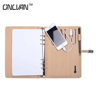 8G USB Portable Source Notebook With 12000 10000 8000 6000mAh Phone Power PU Leather Writing Business