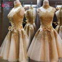 Hình Ảnh thực tế Vàng Ren Appliques Cao Cổ Knee Length Bridesmaid Dresses 2017 Vestido de Festa de Casamento