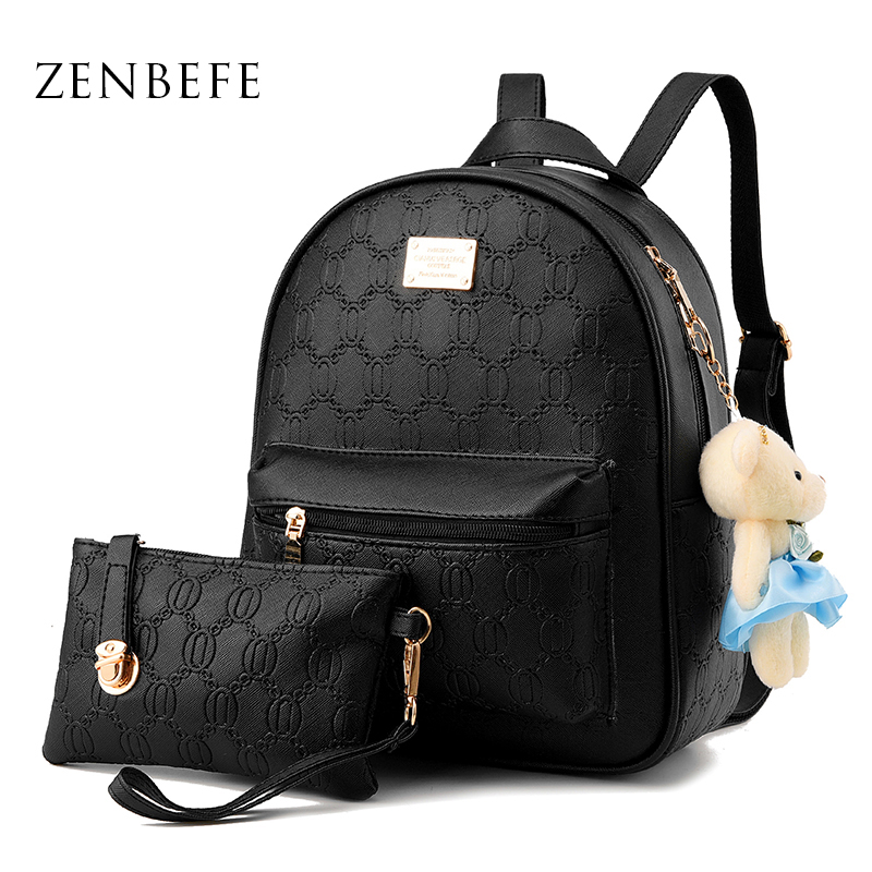 ZENBEFE Designer Women Backpack Preppy Style School Bag PU Leather ...