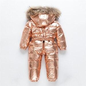 Image 3 -  30 רוסית חורף חליפת שלג פעוט בני בנות 90% ברווז למטה Rompers סרבל ילדי סרבל תינוקות תינוק 1 6 Y Clj311