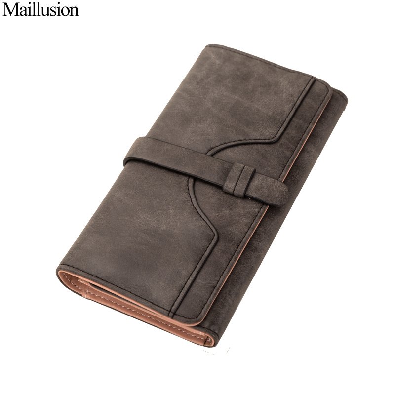 Maillusion Fashion Hasp Womens Wallets And Purses Long Carteira Zipper Nubuck Leather Female Long Design Purse Two Fold Pocket wallet female long zipper womens wallets and purses fashion solid genuine leather female wallet hasp women wallets coin purse