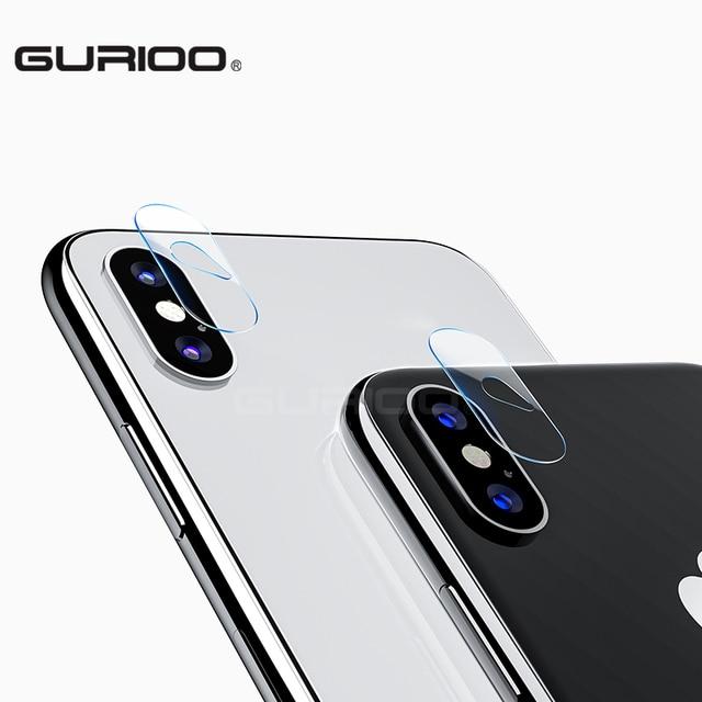 GURIOO 2 pcs Protetor De Tela De Vidro Da Lente Da Câmera para o iphone x Temperado filme tampa Traseira Limpar 9 H Dureza para iPhoneX 10 2.5D HD