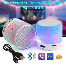 LED Mini Wireless Bluetooth Speaker Portable TF USB FM Portable Music Loudspeakers Hand-free call For iPhone 6 Phone PC with Mic(China)