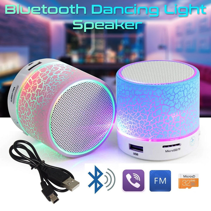 LED Mini Wireless Bluetooth Speaker Portable TF USB FM Portable Music Loudspeakers Hand-free call For iPhone 6 Phone PC with Mic