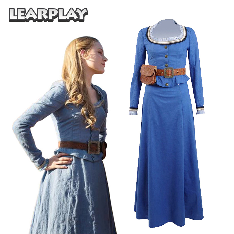Westworld Dolores Abernathy Dresses Cosplay Costume Blue Woman Party Dress TV West World Park Host Suit
