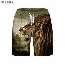 New Arrival Mens Beach Shorts 3D Lion Head Printed Board Quick Dry Surfing Trunks Plus Size Man Swimsuit Swimwear S-3XL
