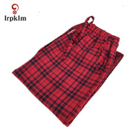 2018 Spring Autumn New Women's Sleeping Pants Checkered Cotton Checked Tether Large Size Cotton Casual Simple Trousers JW055