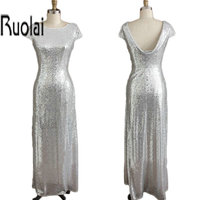 2015 New Design Real Sample Silver Sheath Maid Of Honor Dresses For Weddings Scoop Neck And