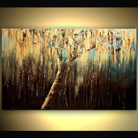 Hand painted Modern Abstract Art and Architecture Weeping Willow Tree Decorative Handmade Wall Ar Gold Tree Canvas Oil Painting