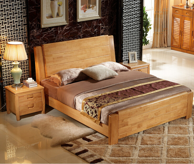 High Quality Bed Oak Bedroom Furniture Bed Solid Wood
