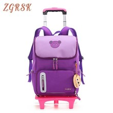 Boys Girls Trolley Schoolbag Luggage Book Bags Backpack Latest Removable Children School Kids Bag Bags 2/6 Wheels Stairs kids boys girls trolley schoolbag luggage book bags backpack latest removable children school bags with 2 wheels stairs