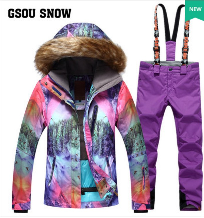 Women's violet ski suit female violet fur collar snowboarding ski jacket and violet suspender ski pants waterproof 10K skiwear