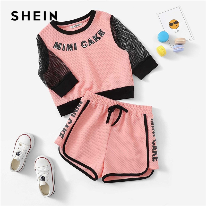 SHEIN Kiddie Pink Letter Print Eyelet Mesh Sleeve Waffle Top And Shorts Girls Clothing Two Piece Set 2019 Active Wear Clothes off the shoulder short sleeve printed crop top elastic waist shorts twinset for women