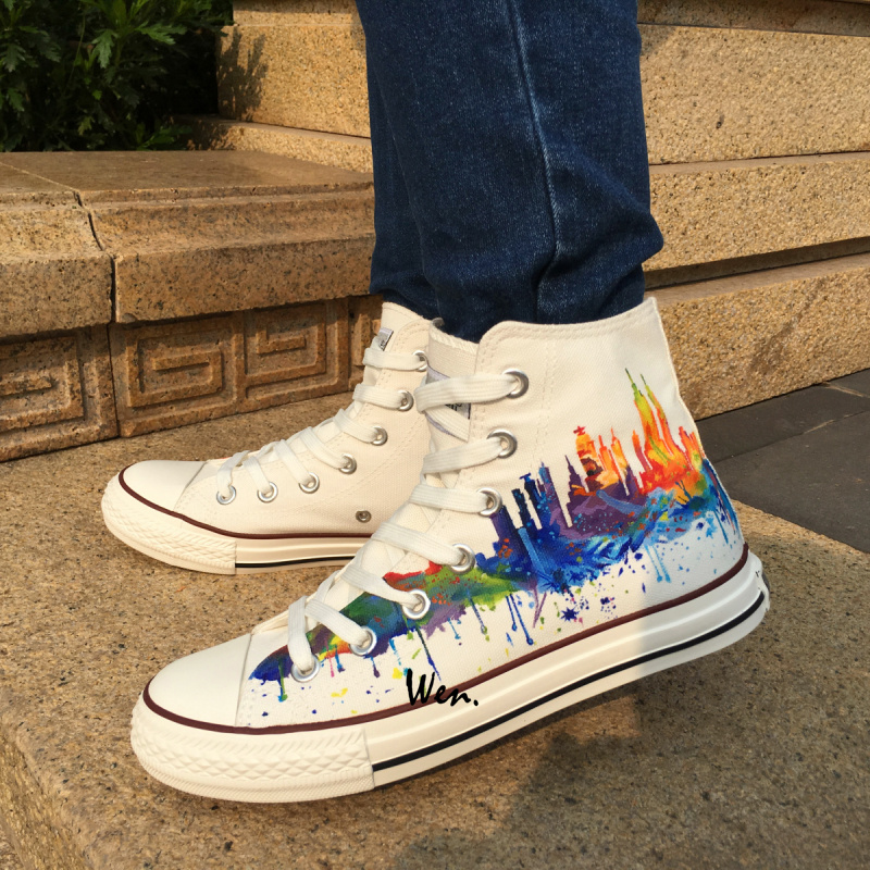 In Top 20Off Painted Sneakers 0 Women York White Hand New City Men's Custom Canvas wen Shoes Design Us52 Skyline High Original TFK13uJlc