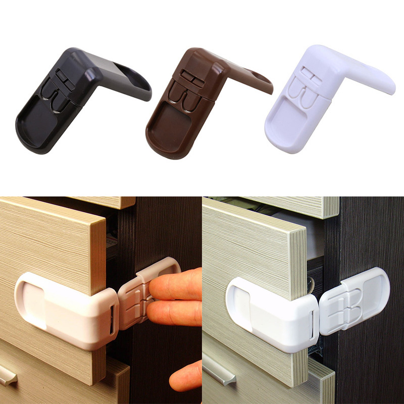 1Pc Baby Double Snap Multifunction Right Angle Lock 90 Degree Wardrobe Lock For  Children's Safety Kids Care Whole Sale