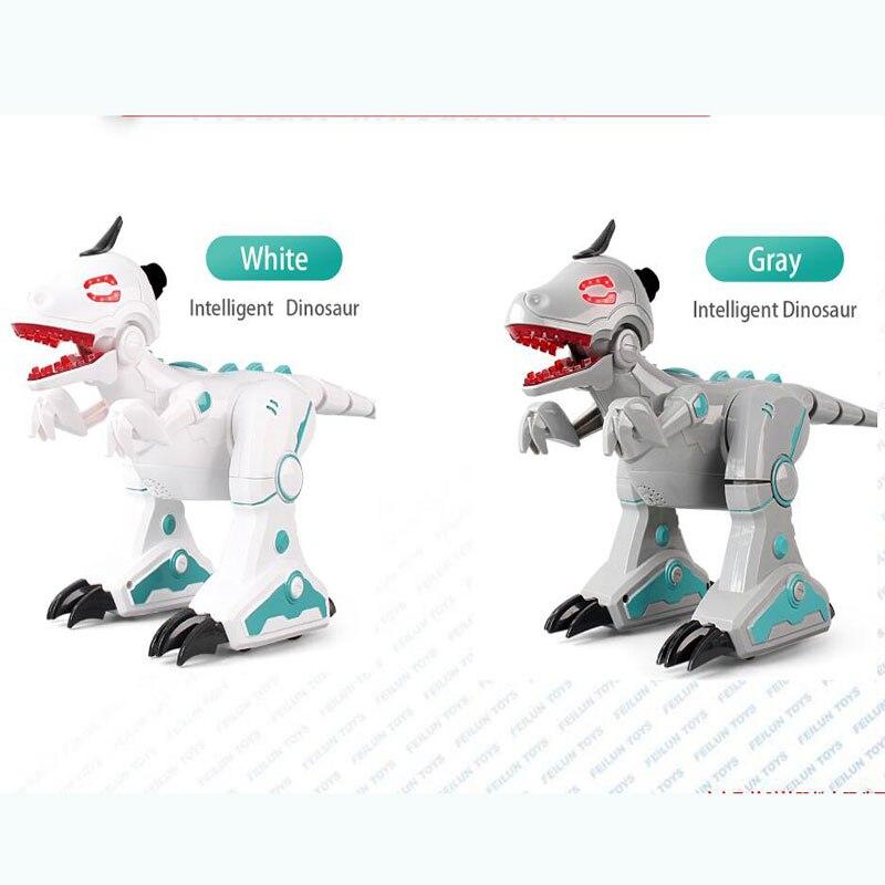 Dinosaure jouets RC Robot Intelligent interactif Intelligent marche danse chantant électronique animaux éducation enfants jouets blanc gris - 6