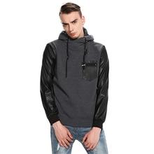 Men's Long Sleeve Winter Hoodie Leather Hooded Sweatshirt PU Sleeve Outwear Stitching Sportswear Pullover Solid Black Slim Coat