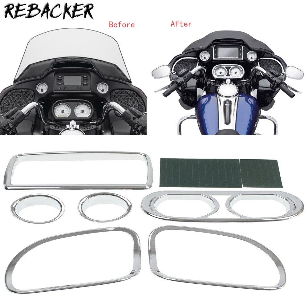 6 Pcs Chrome Motorcycle Fairing Speedometer Radio Speaker Trim Kit case for Harley Road Glide FLTRX