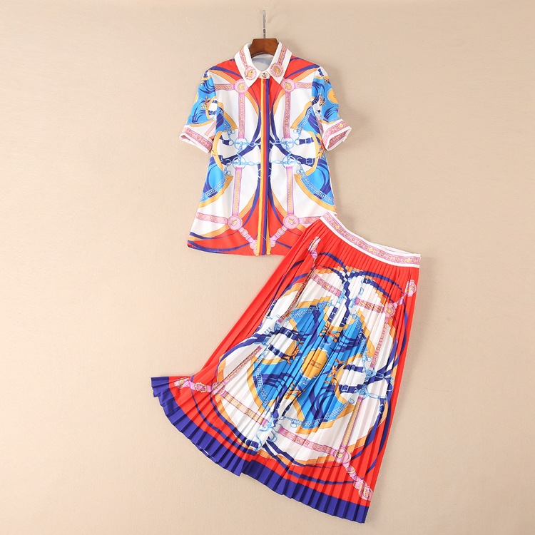 New Design Fashion Runway Suit Summer New Womens Foreign Trade Fashion Temperament Abstract Print Shirt Pleat Skirt
