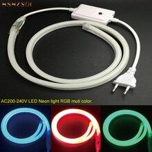 1-10m Outdoor&Indoor LED Lighting Flex LED Neon Light SMD 2835 120leds/M LED RGB Strip Light Waterproof IP68 220V power plug
