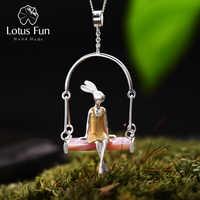 Lotus Fun réel 925 argent Sterling coquille naturelle créative à la main bijoux fins Miss lapin pendentif sans chaîne Acessorios