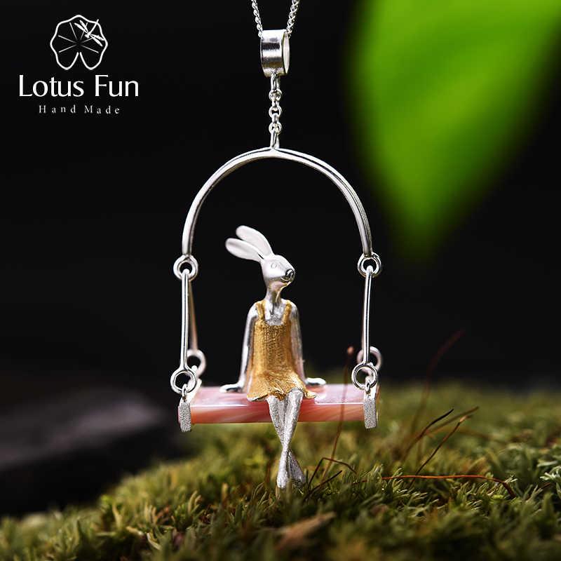 Lotus Menyenangkan Nyata 925 Sterling Silver Natural Shell Kreatif Buatan Tangan Perhiasan Nona Kelinci Liontin Tanpa Rantai Acessorios