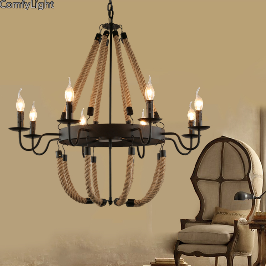 Creative personality vintage Restaurant Bar Cafe American living room Chandeliers light wrought iron lampshade pendant lamp american countrial chandeliers cafe pendant lamp round retro restaurant bar metal lamps wrought iron hemp rope pendant lamp