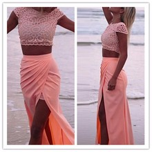 2016 new summer party dress sleeveless o-neck Chiffon High Waist Casual Beach Sexy Maxi Long dresses Two piece suit