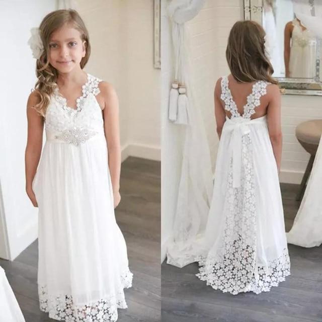 2a5562335b9e 2018 Boho Flower Girl Dresses White Chiffon and Lace Long Junior Little  Girls Beach little bride Nohemian Beaded Sash comunion