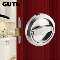 GUTE Invisible Door Lock Stainless Steel Single Side Lock Round Pull Ring Lock Interior Door Mortise