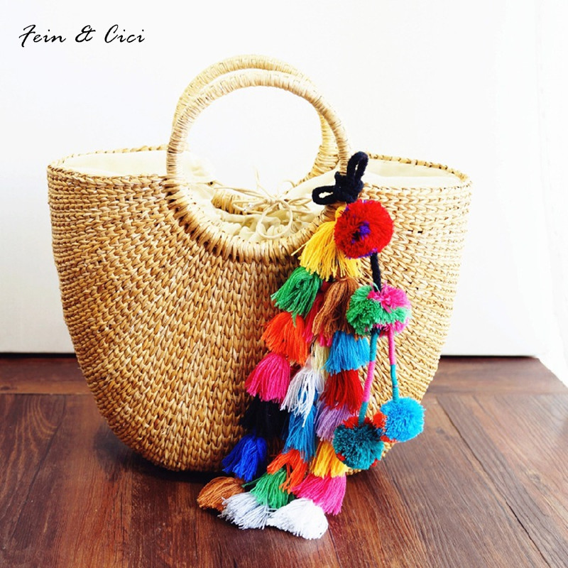beach bag straw totes bag bucket summer bags with tassels s