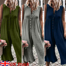 2019 Women Sleeveless Loose Jumpsuit Dungarees Harem Loose Jumpsuit Pants Baggy Trousers Overalls Romper Playsuits New
