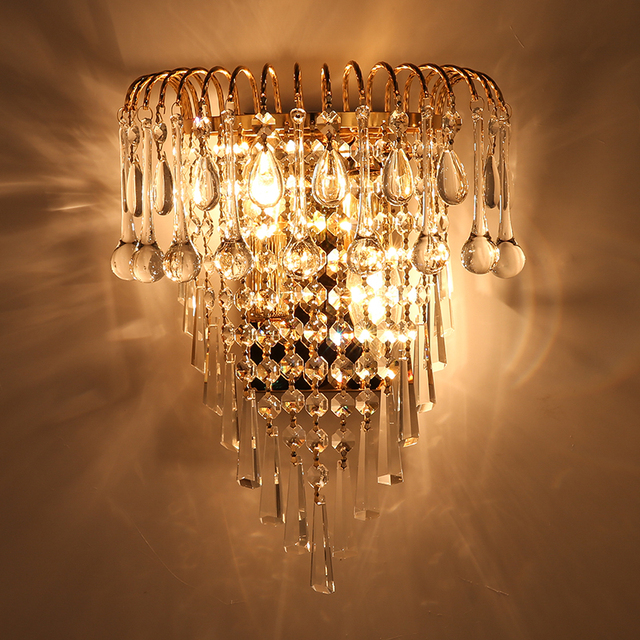 Classic crystal chandelier wall light gold crystalline wall sconce classic crystal chandelier wall light gold crystalline wall sconce lamp led foyer living room bedside glass aloadofball Image collections